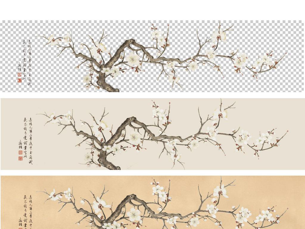 psd)原创手绘梅花无框画床头画新中式背景墙手绘花鸟梅花装饰画花开