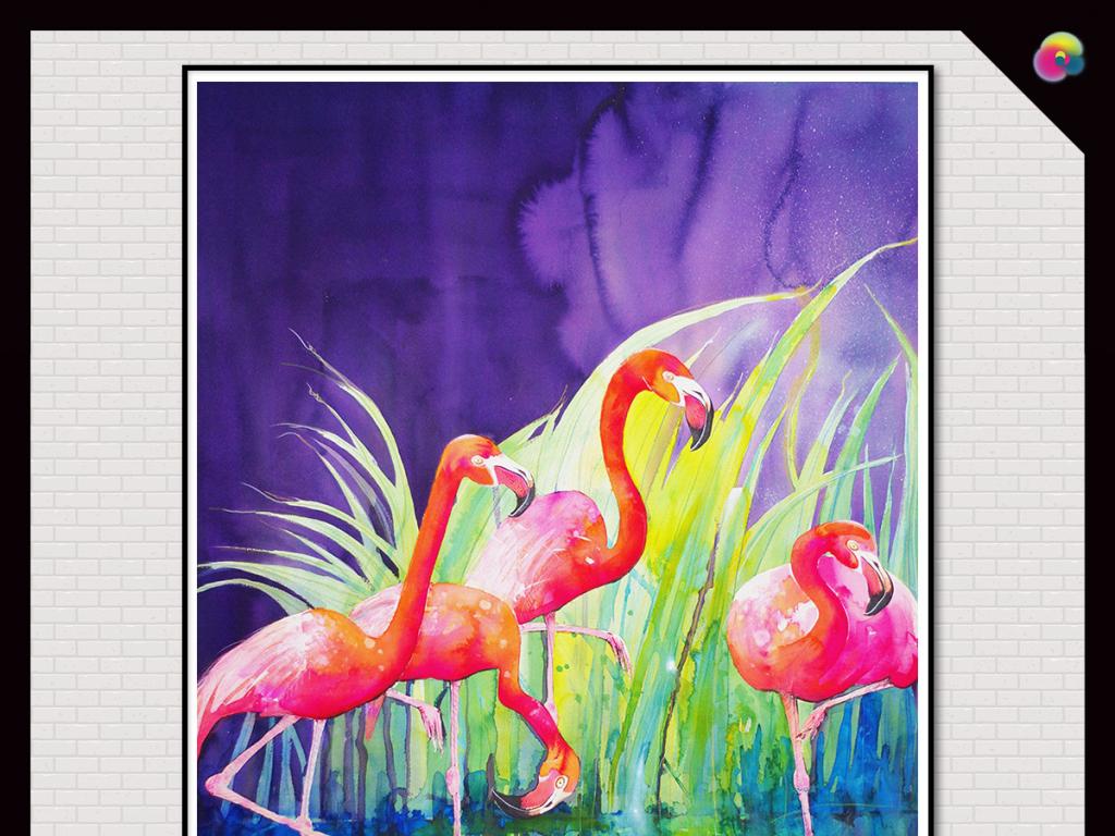 手绘欧式田园火烈鸟热带雨林装饰画