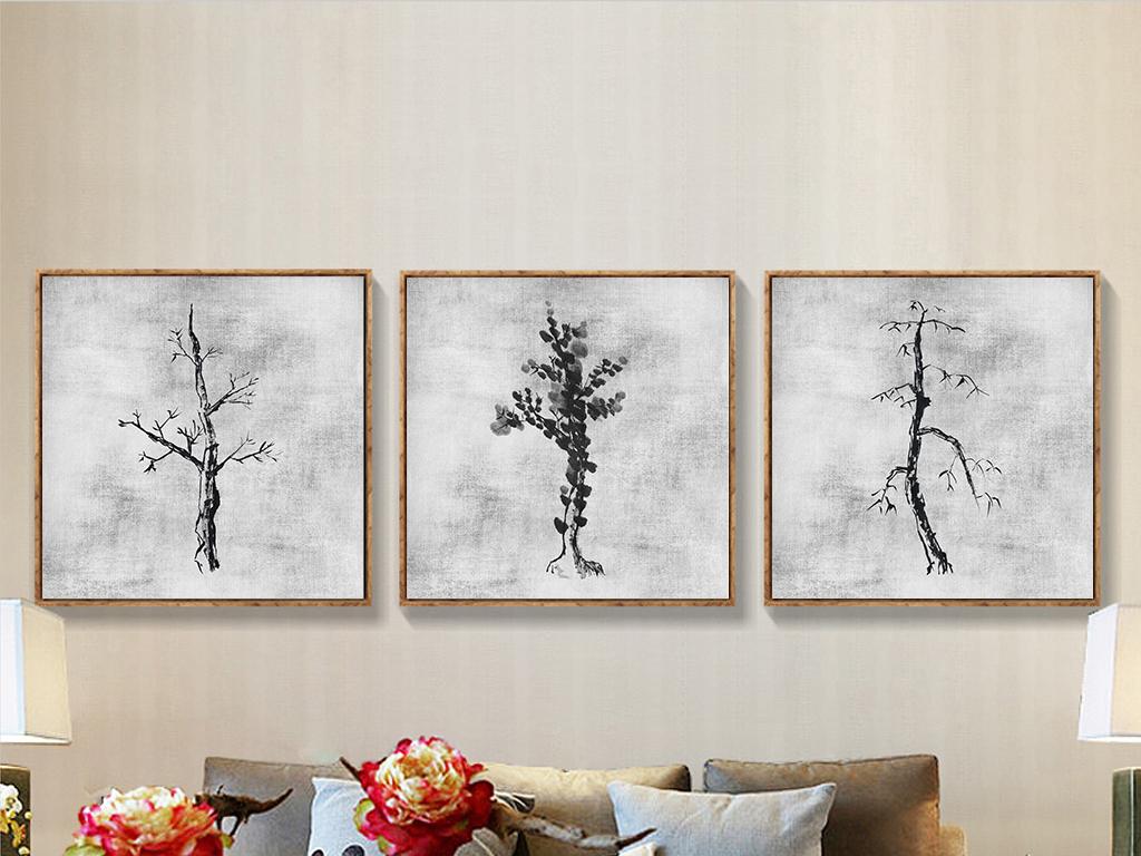 禅意手绘国画水墨山水水墨美术家居餐厅客厅沙发室内画装饰画水墨荷花