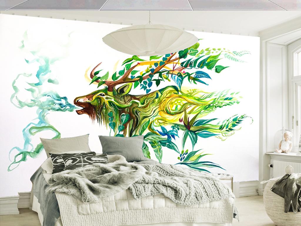 清新手绘水彩田园麋鹿客厅电视背景墙