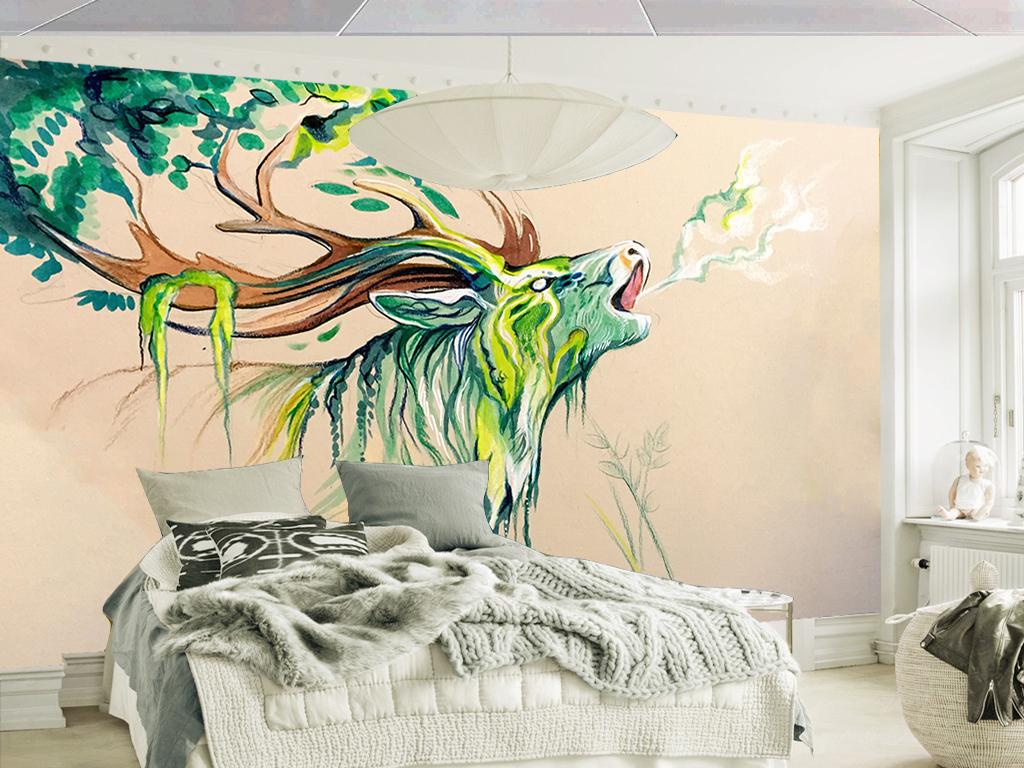 清新手绘水彩田园麋鹿现代客厅电视背景墙
