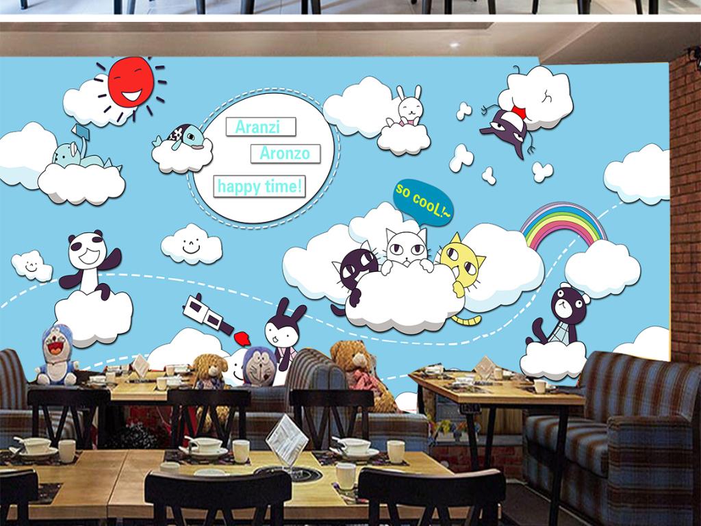 手绘猫咪白云甜品餐厅背景墙