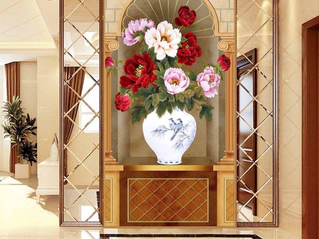 高清欧式油画花卉花瓶玄关影视墙