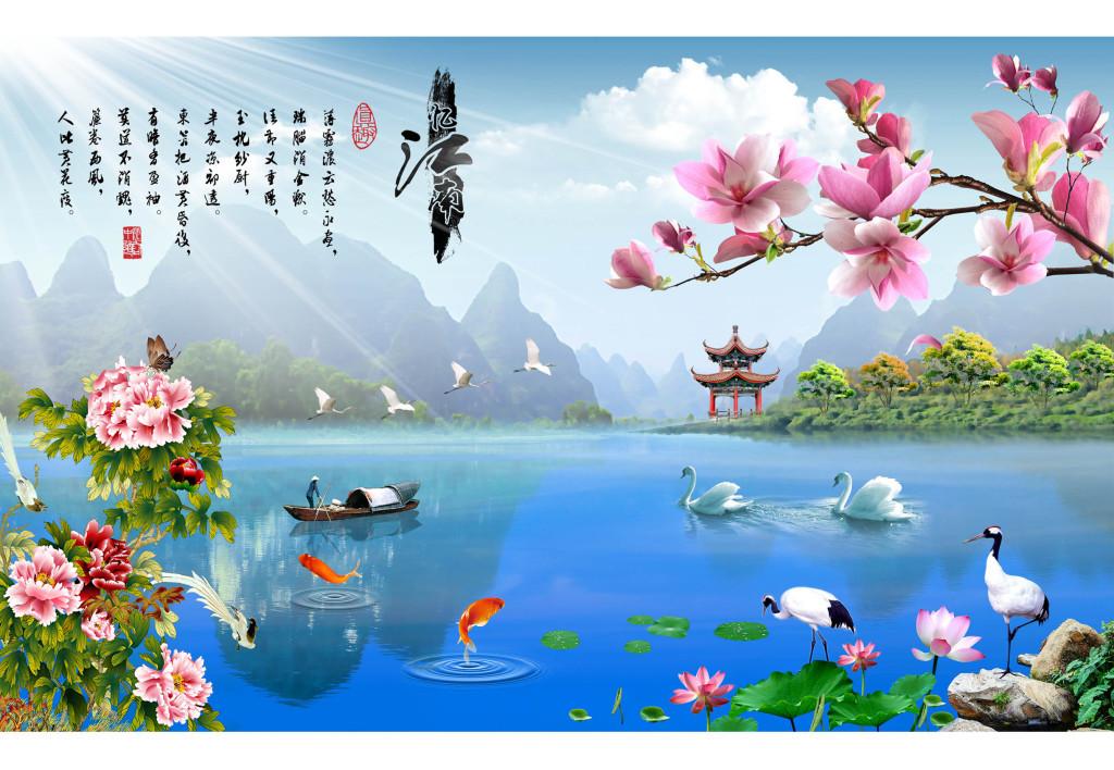 江南韵山水风景画电视背景墙