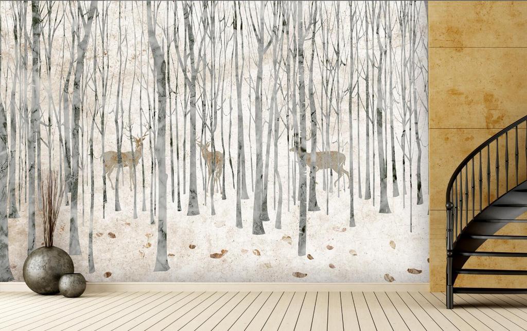 手绘北欧森林麋鹿大理石雕刻路径背景墙壁画 位图, rgb格式高清大图