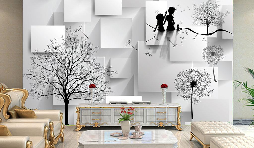 3d立体手绘大树蒲公英室内电视背景墙