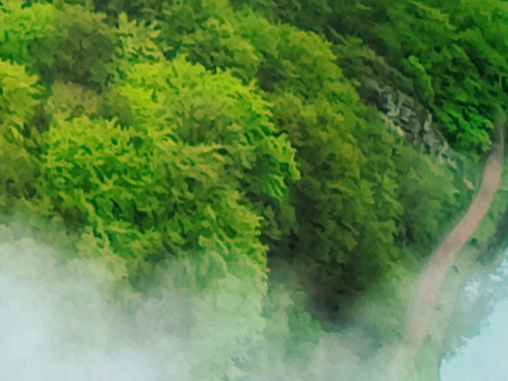 绿色山水风景3d裸眼地板