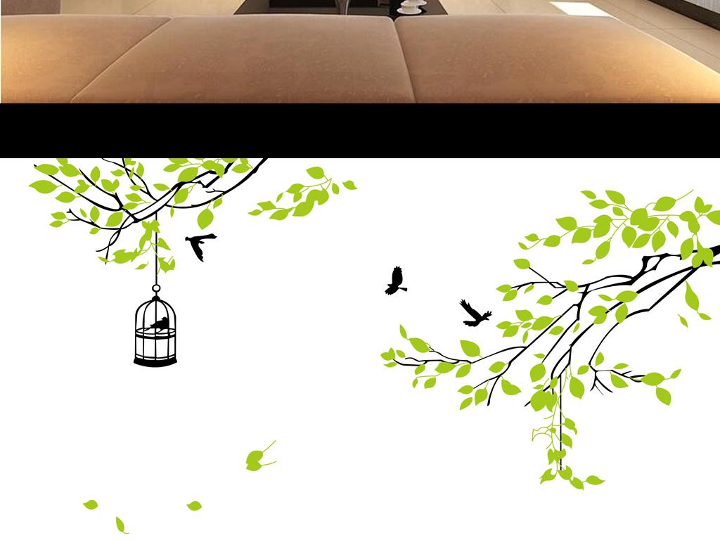 手绘树枝绿叶树枝简约清新绿叶水珠绿叶图片绿叶水滴绿叶的图片一片