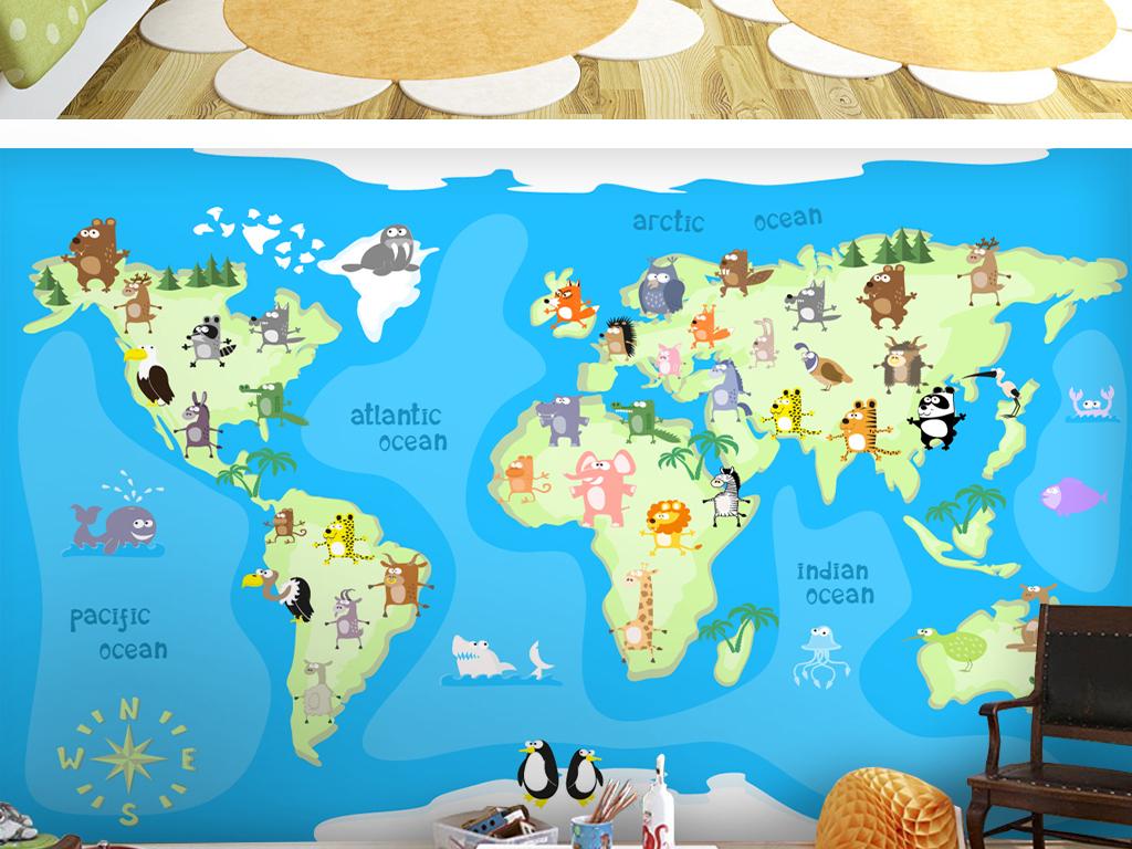可爱手绘森林                                  动物世界地图