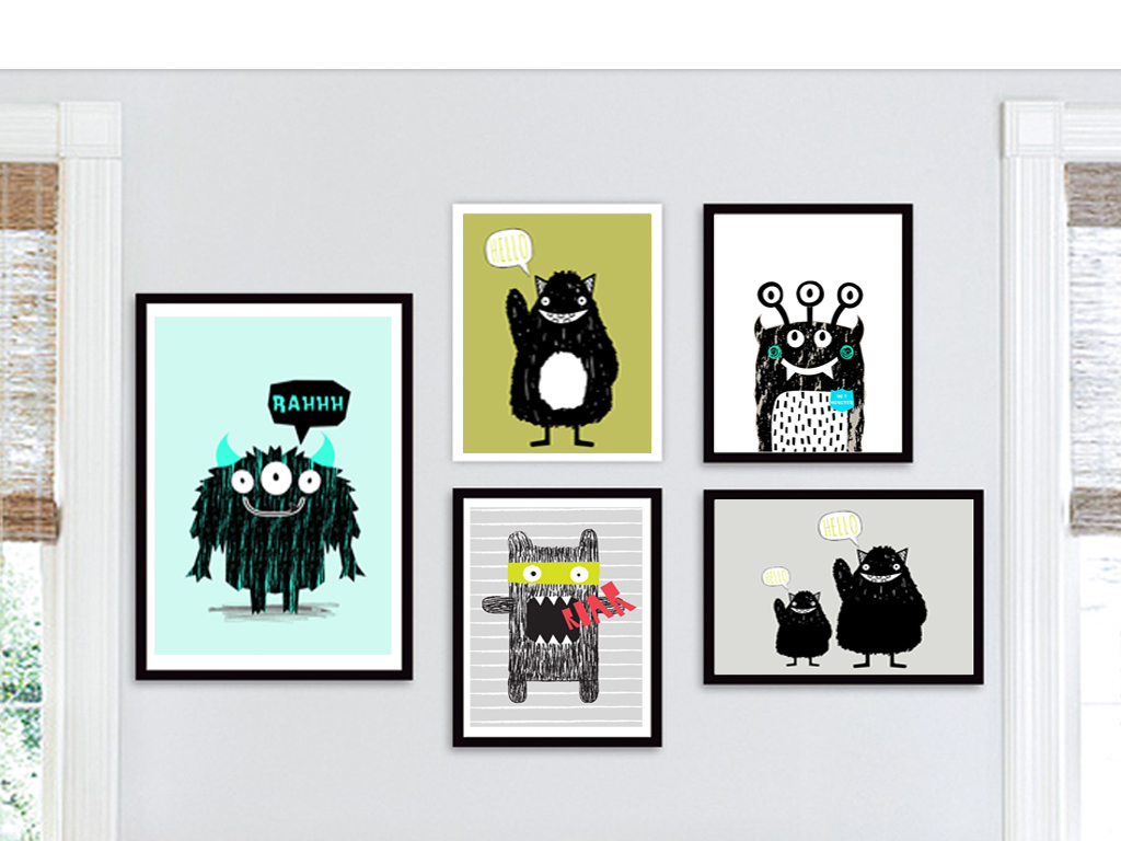 rgb格式高清大图,使用软件为北欧超萌可爱图案组合无框装饰画可爱动物