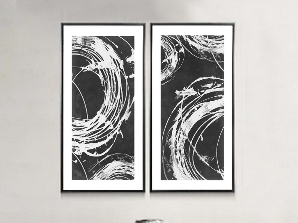 中式黑白水墨画-抽象挂画