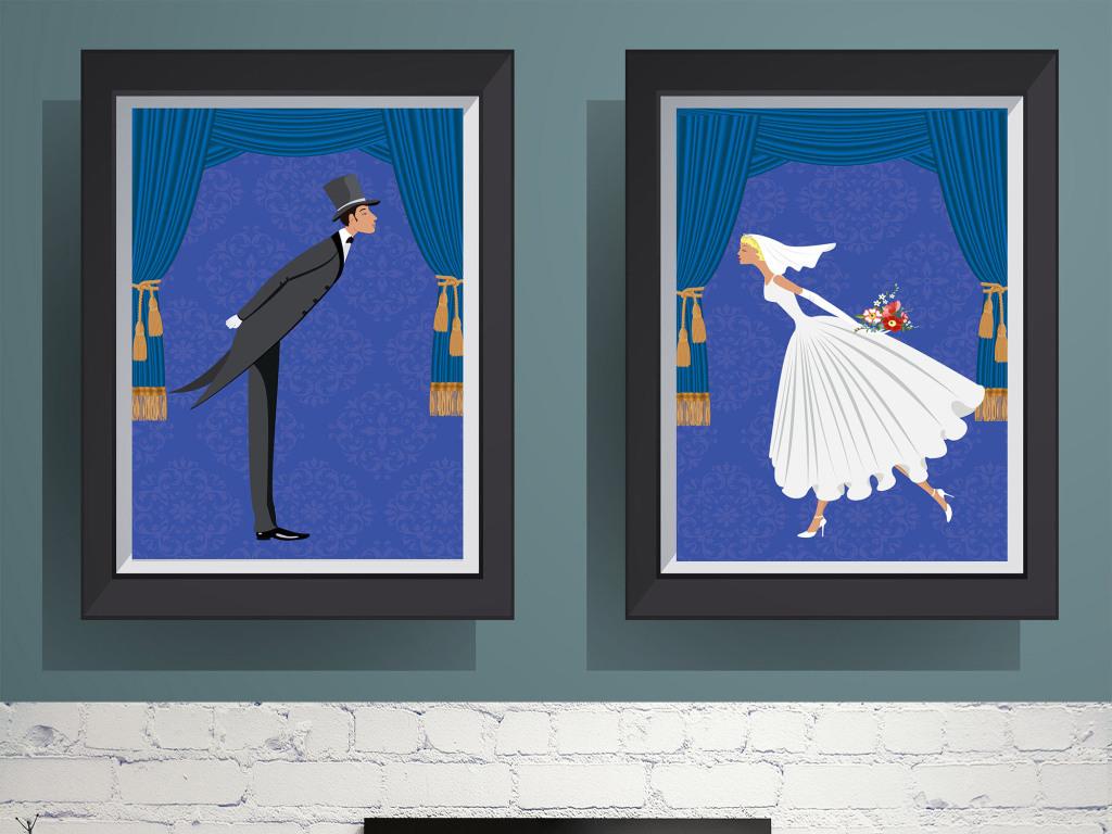 卡通婚礼新郎新娘装饰画有框画