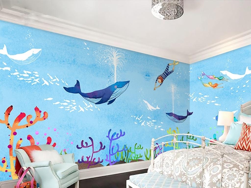 卡通海底世界儿童房手绘背景墙