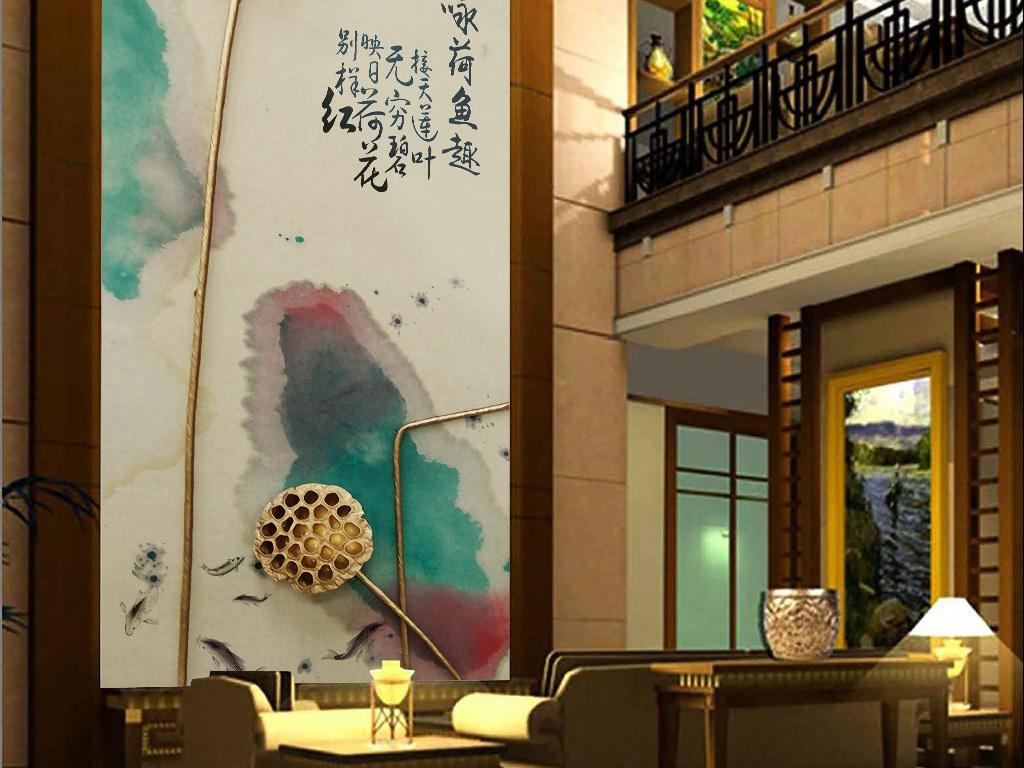 手绘墙画壁画3d立体富贵背景墙文化中国风中国风素材