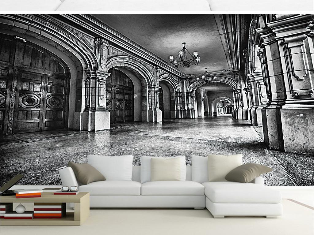 黑白欧洲建筑壁画