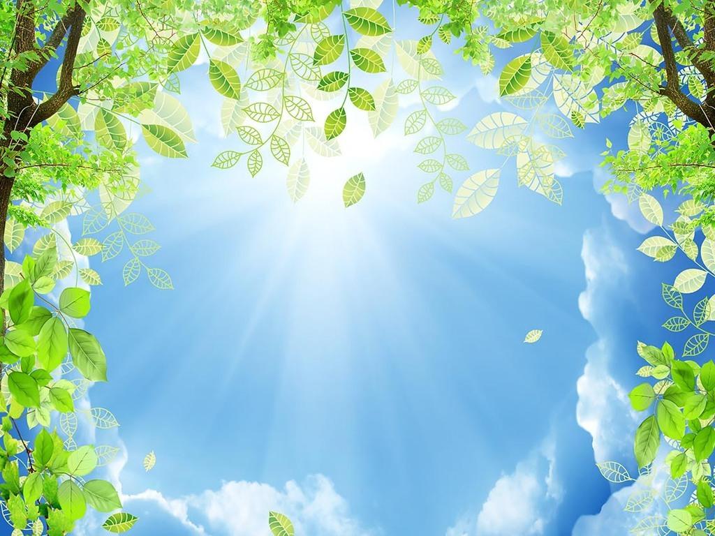 天花壁画花卉电视背景墙蓝天白云草地蓝天白云鲜花蓝天白云绿草地卡通图片