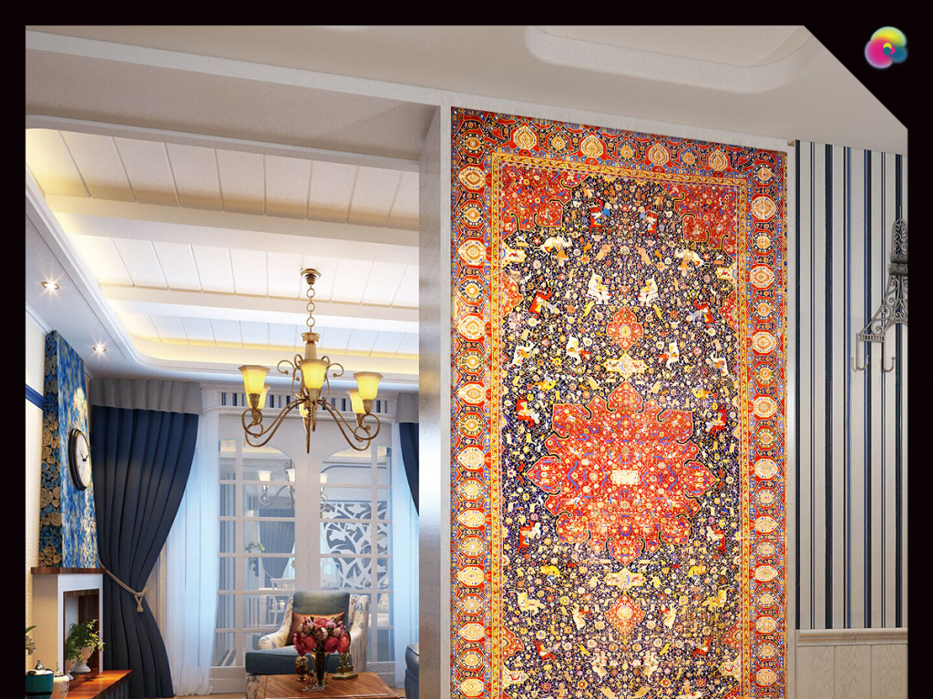 复古奢华欧式古典花纹边框玄关过道背景墙