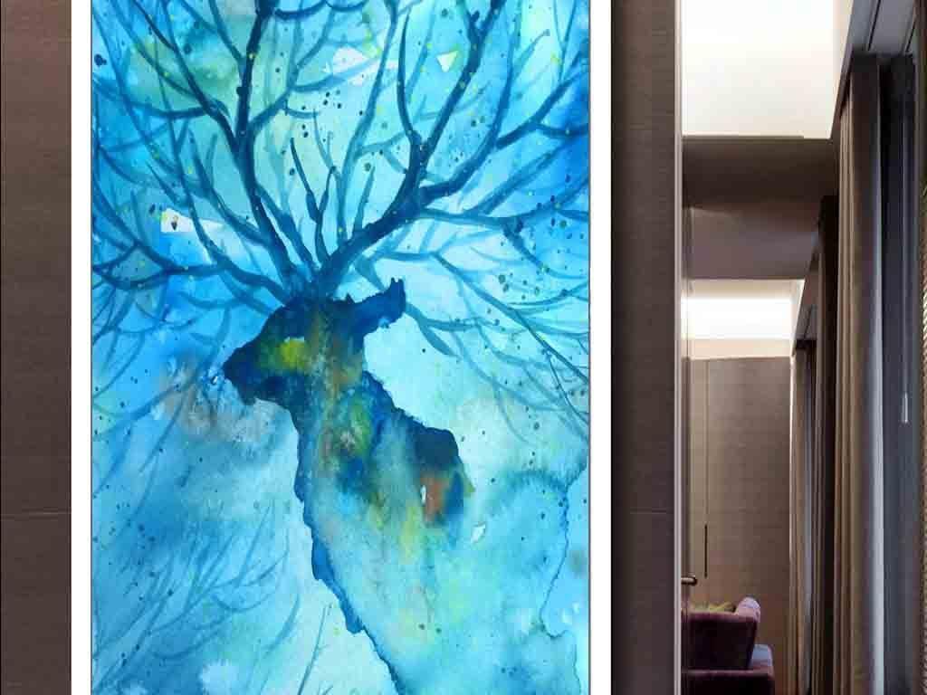 北欧抽象麋鹿现代玄关壁画图片设计素材_高清模板下载图片