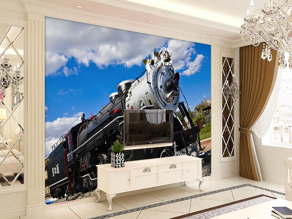 欧式复古3d火车头酒吧咖啡厅背景墙