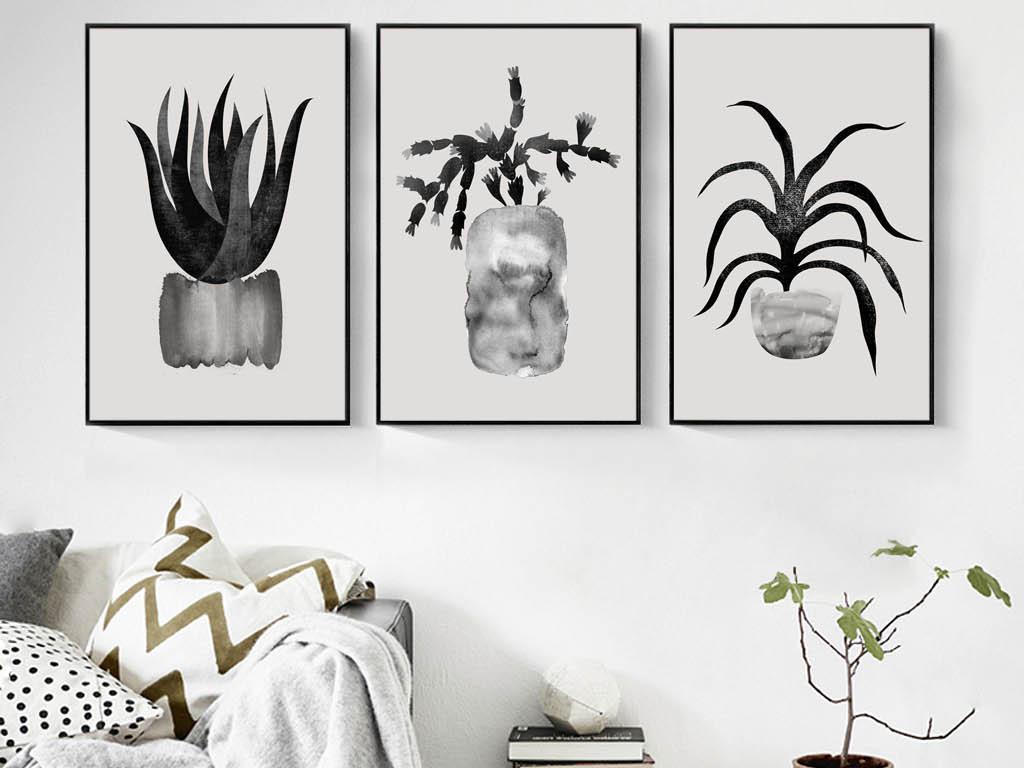 黑白抽象挂画多肉植物盆栽小盆栽室内装饰画人物装饰