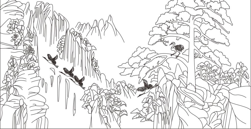 图松树迎客松仙鹤山水画cdr格式cdr源文件cdr背景