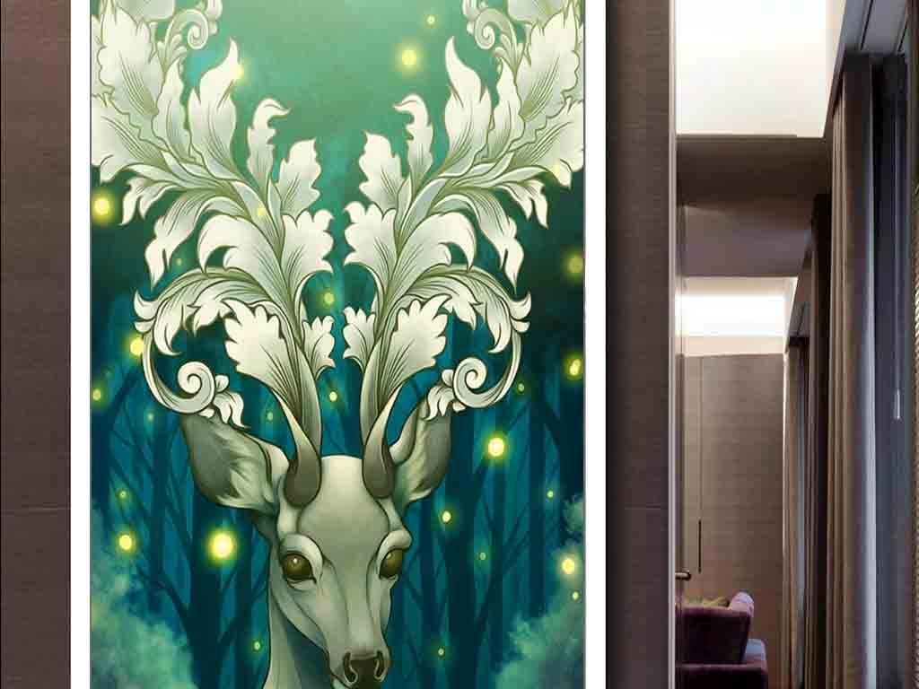 北欧麋鹿插画现代玄关壁画图片图片