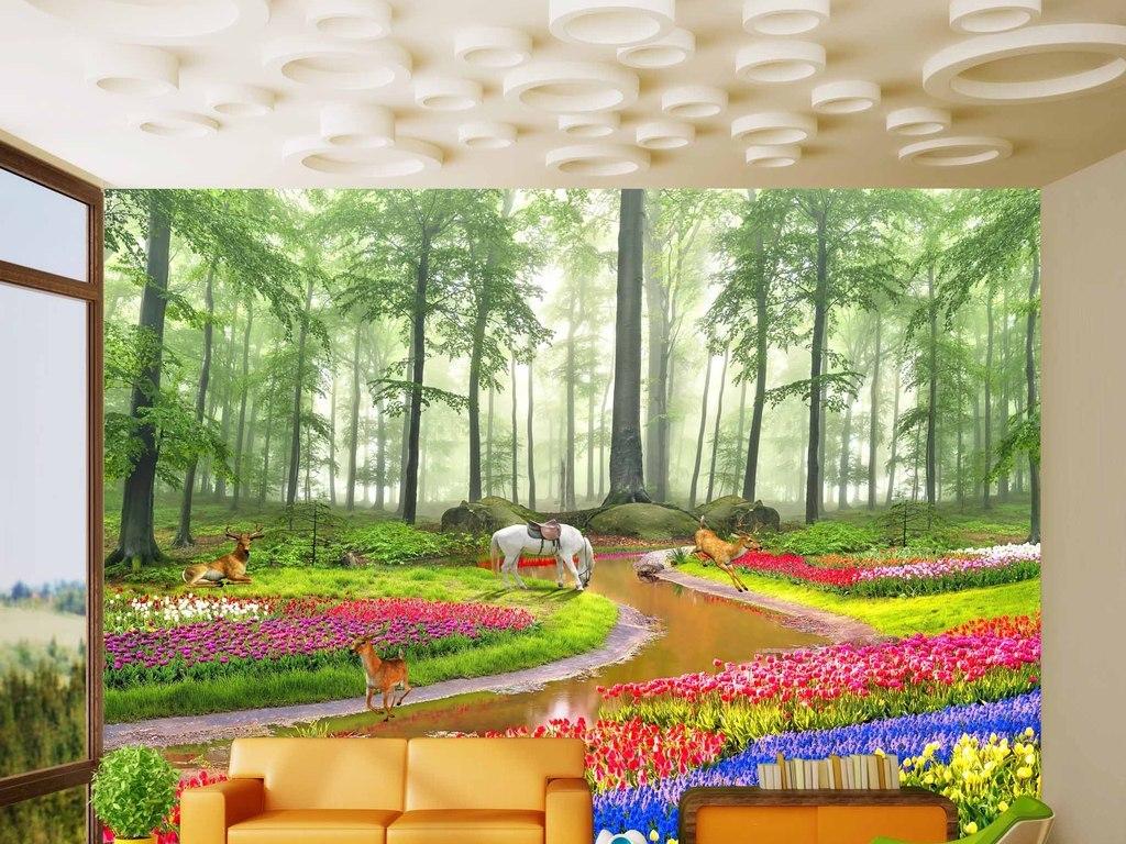 背景墙|装饰画 电视背景墙 客厅电视背景墙 > 极美高清梦幻森林花海3d