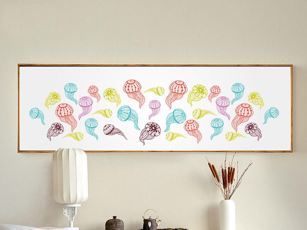 彩色手绘水母无框画