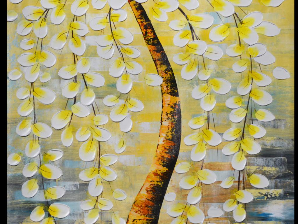 油画超高清手绘发财树玄关