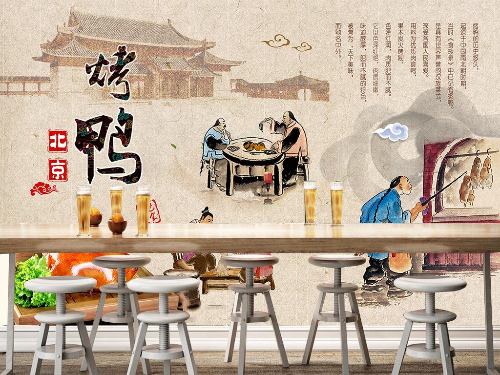北京烤鸭餐厅手绘民俗壁画背景墙
