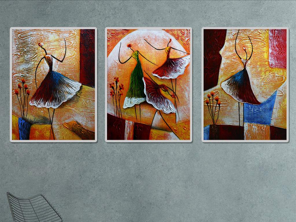 抽象舞蹈人物三联无框装饰画