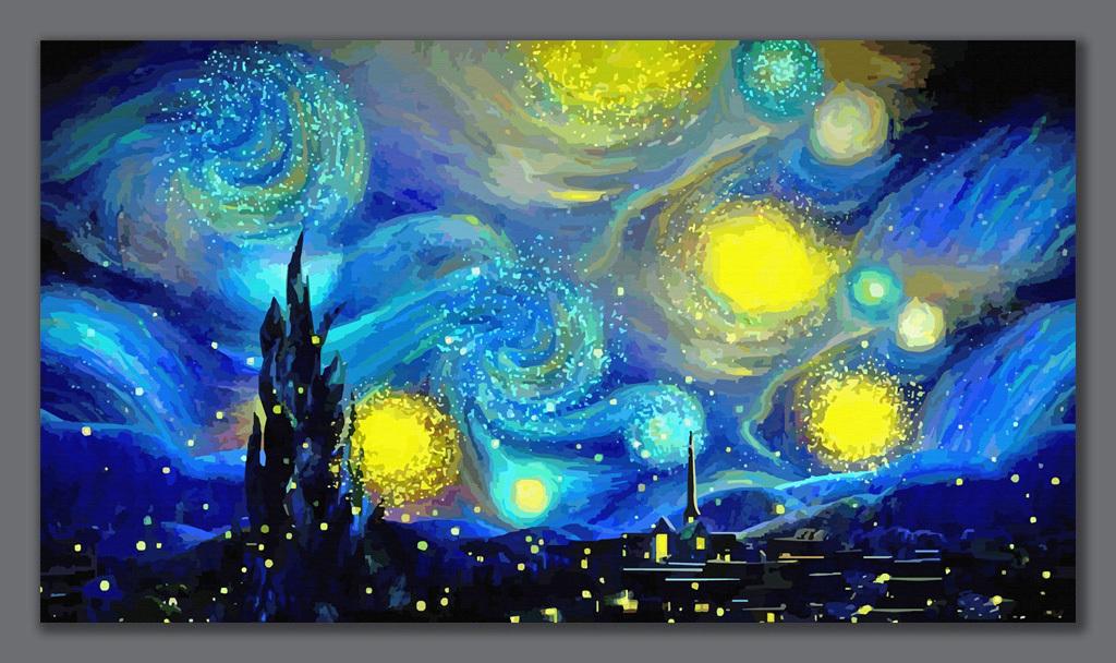梵高油画星空名人油画抽象油画背景墙图片