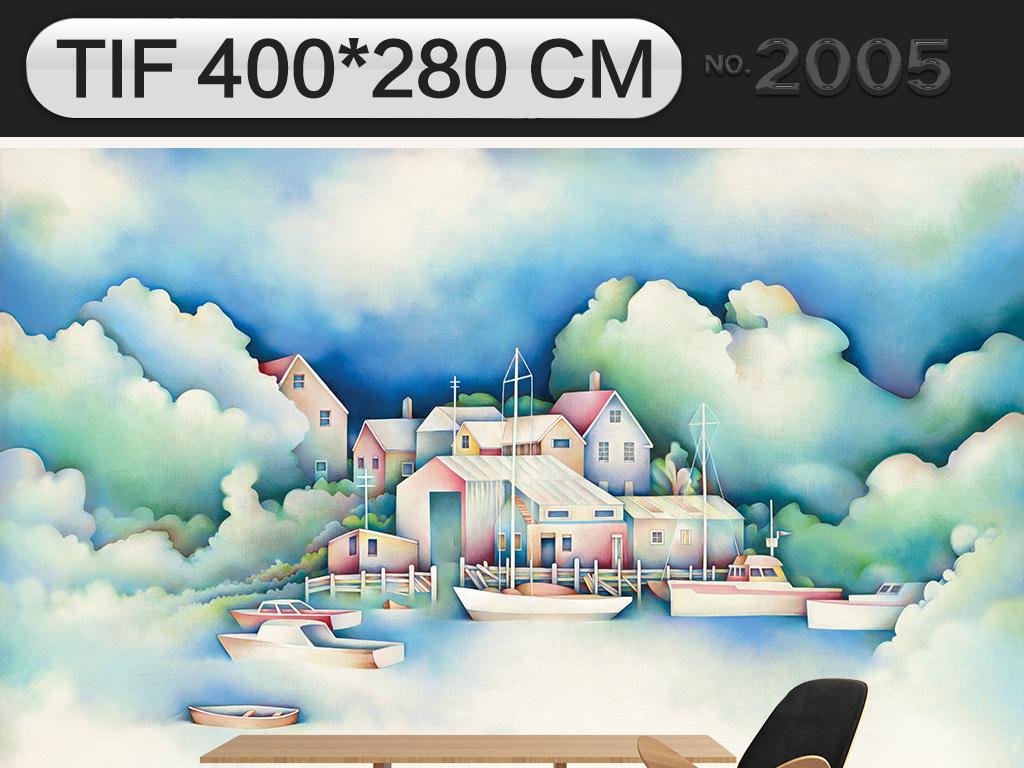 清新现代手绘卡通儿童房背景墙