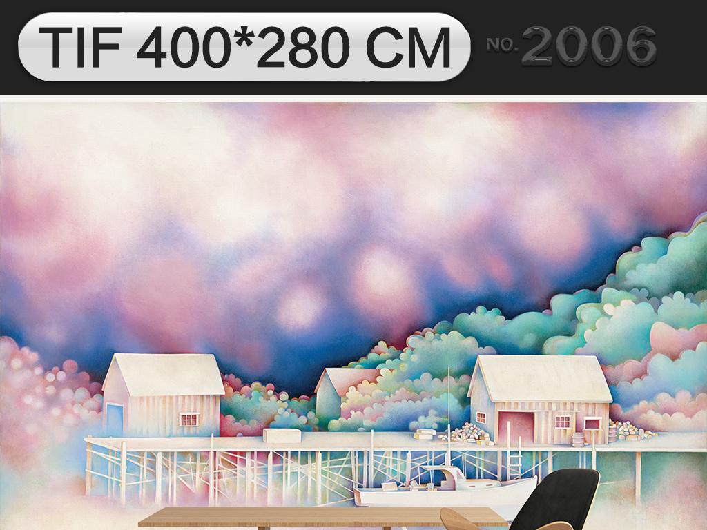 海边小镇,梦幻现代手绘卡通儿童房背景墙