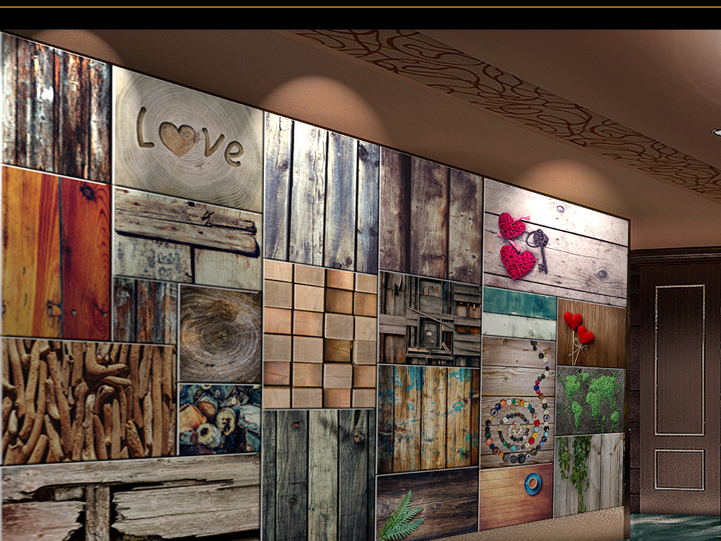 复古木板简约时尚木纹素雅电视背景墙壁