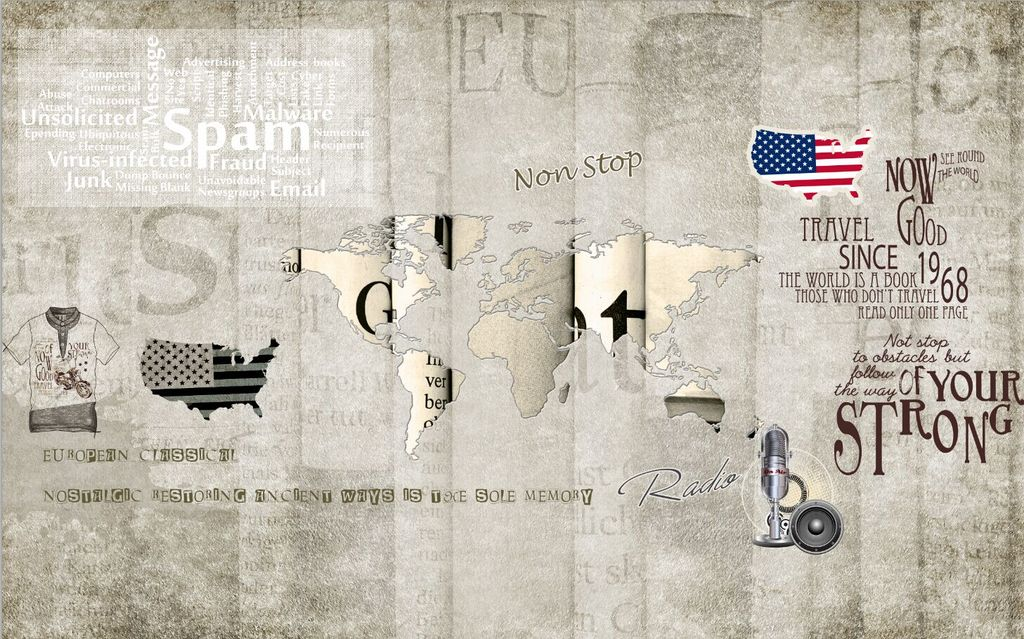 手绘世界复古怀旧地图背景墙