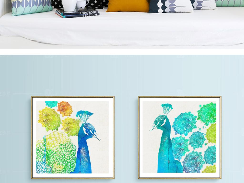 现代色彩手绘孔雀动物图案无框装饰画