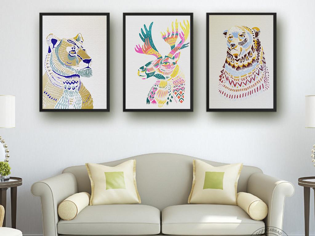 北欧风创意手绘麋鹿熊图案无框画