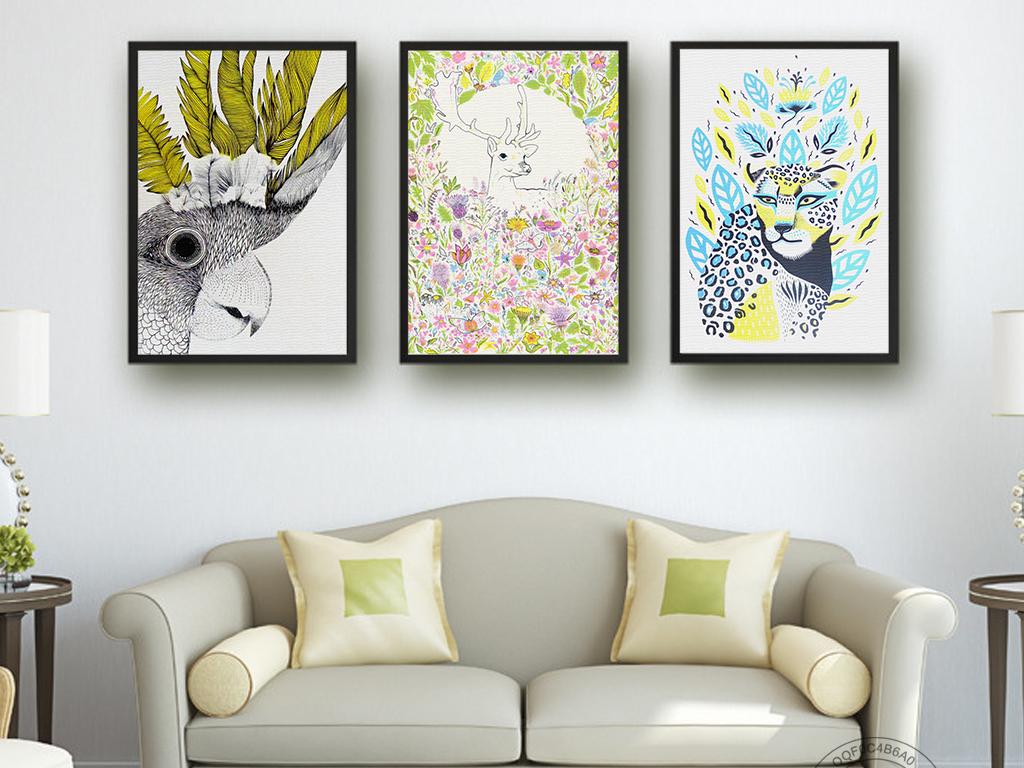北欧风创意手绘动物图案无框画