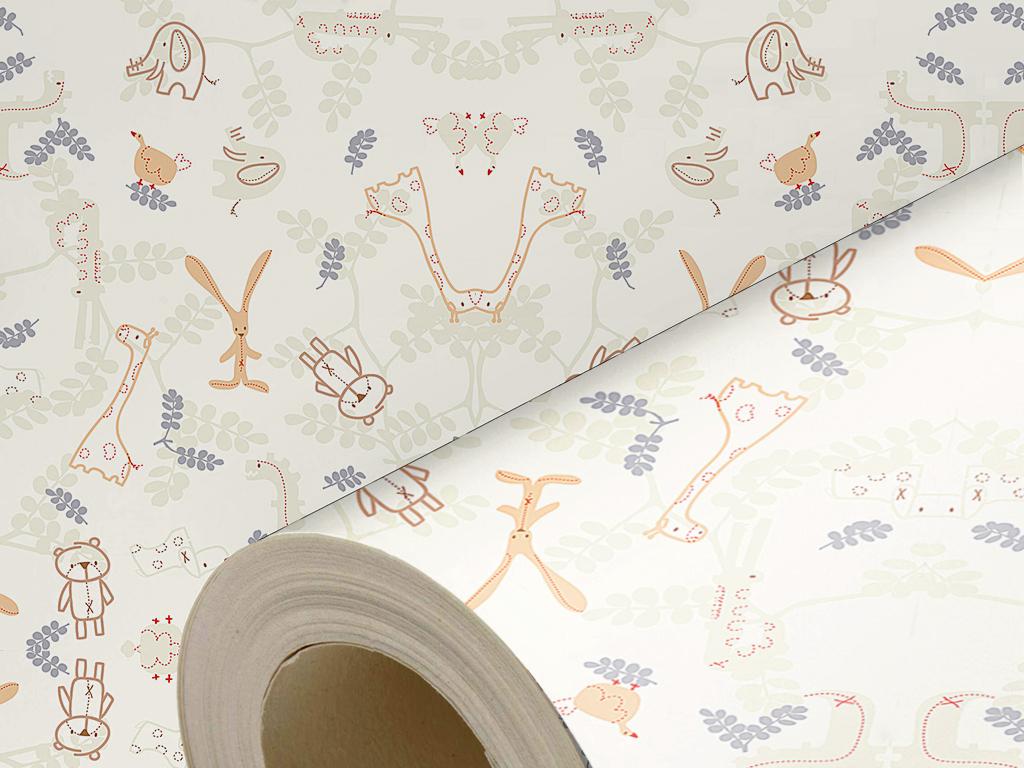 沙发背景墙壁纸手绘壁纸卡通动物墙纸可爱墙纸可爱