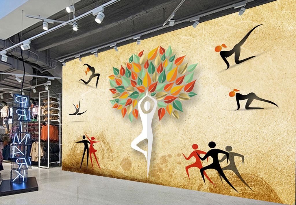 复古瑜伽馆瑜伽造型工装背景墙