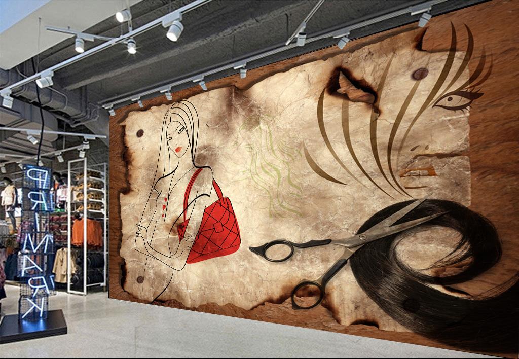 背景墙|装饰画 工装背景墙 其它 > 复古木纹线条美发店工装背景墙图片