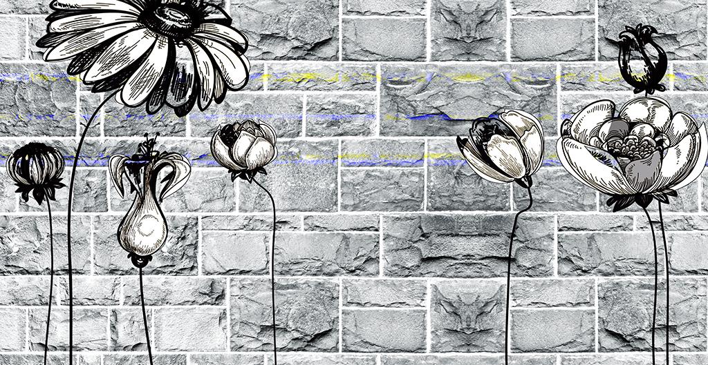 3d砖墙复古手绘荷花背景墙壁画