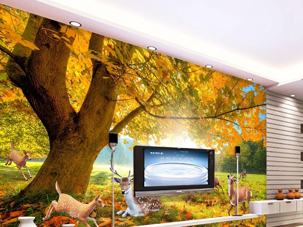 背景墙 装饰画 电视背景墙 3d电视背景墙 > 森林大树麋鹿梅花鹿电视