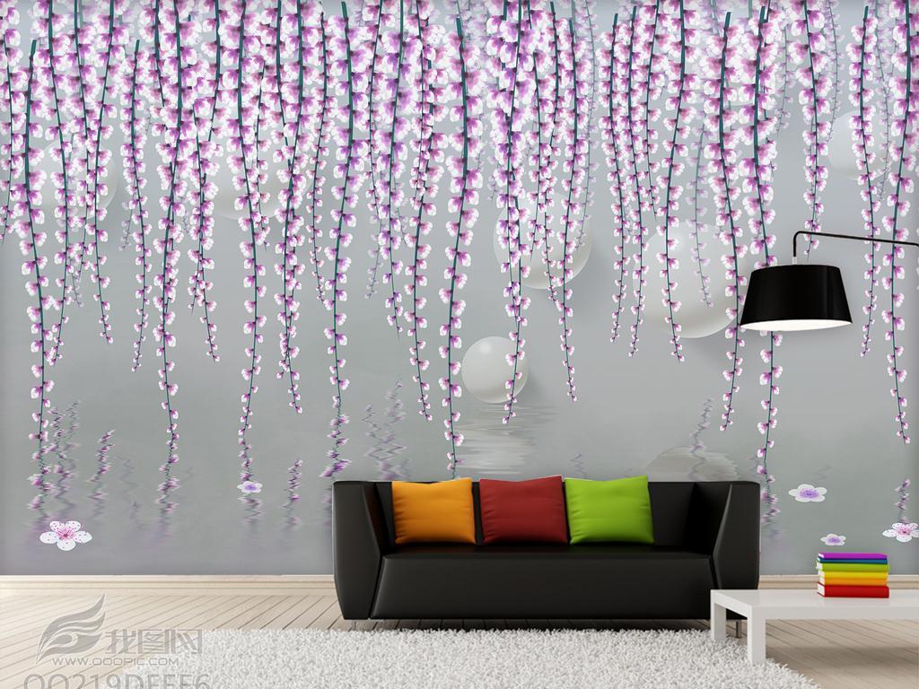 2016手绘中式紫藤花水倒影背景墙装饰画