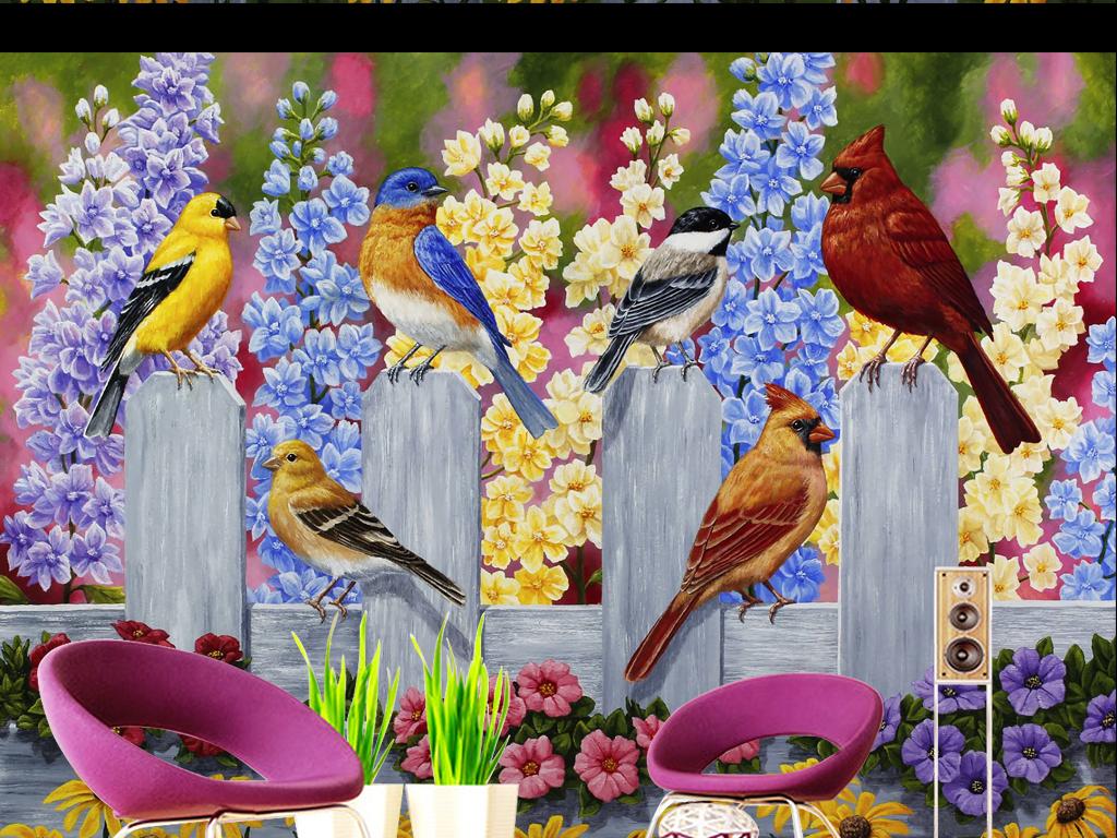 栅栏欧式美式田园风景手绘花鸟背景花鸟电视背景墙欧式花鸟背景花鸟