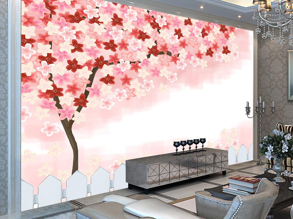 手绘田园樱花树背景墙手绘樱花树
