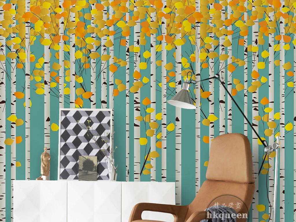 现代简约卡通手绘白桦林金色树叶背景墙