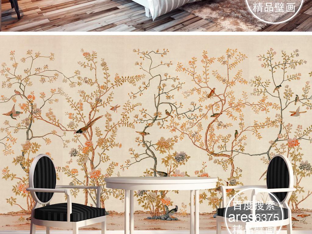 欧式新中式宫廷手绘工笔花鸟田园壁画背景墙