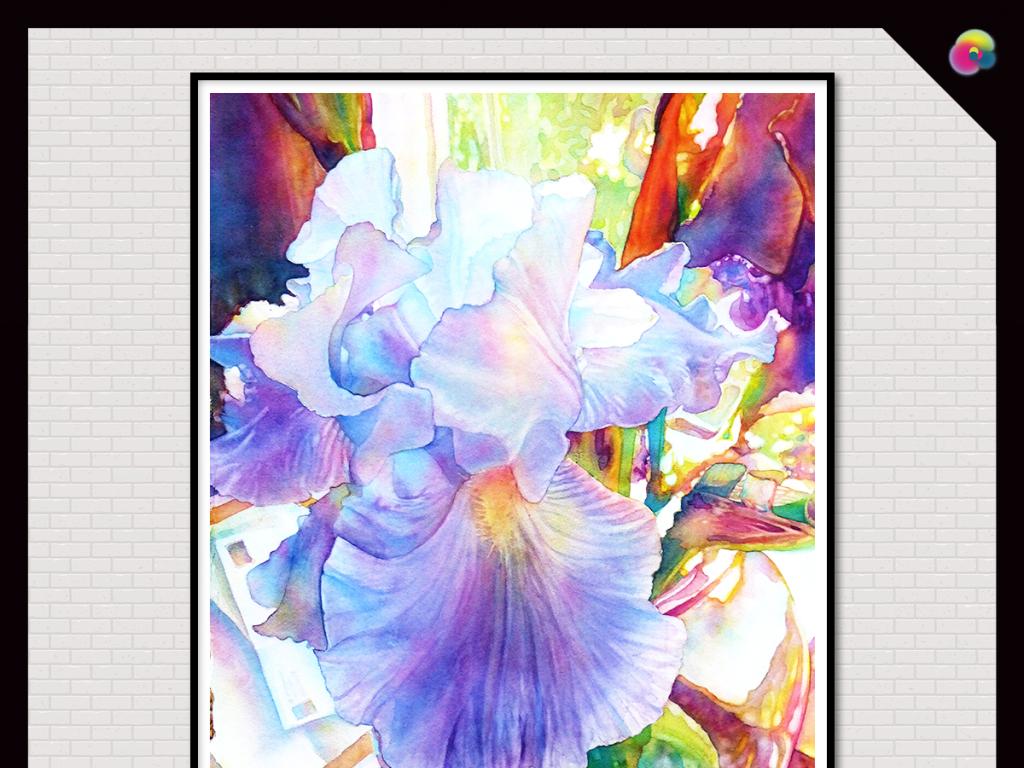北欧简约手绘水彩植物花卉无框装饰画